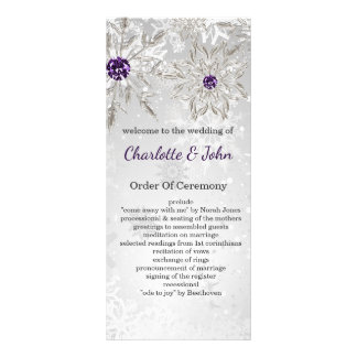 för snöflingorvinter för silver purpurfärgade anpassningsbara rackkort
