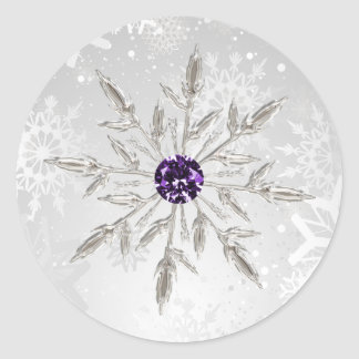 för snöflingorvinter för silver purpurfärgade runt klistermärke