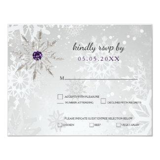för snöflingorvinter för silver purpurfärgat 10,8 x 14 cm inbjudningskort