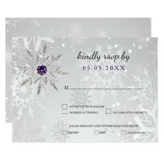 för snöflingorvinter för silver purpurfärgat 8,9 x 12,7 cm inbjudningskort