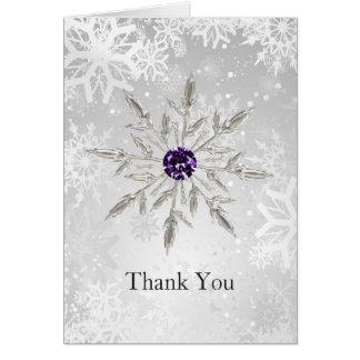 för snöflingorvinter för silver purpurfärgat tack hälsningskort