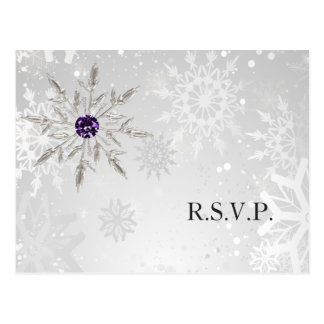 för snöflingorvinter för silver purpurfärgat vykort