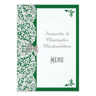 För snörebröllop för grönt och för vit 12,7 x 17,8 cm inbjudningskort