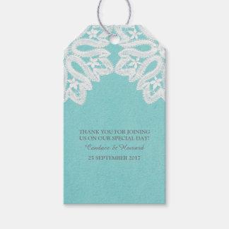 För snörebröllop för turkos eleganta märkre för presentetikett