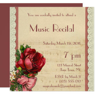 För snöremusik för vintage blom- högläsning fyrkantigt 13,3 cm inbjudningskort