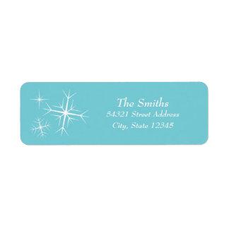 För Snowflakeadress för jul Sparkling etikett Returadress Etikett