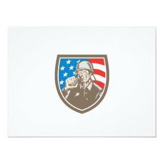 För soldatamerikan för världskrig två vapensköld 16,5 x 22,2 cm inbjudningskort
