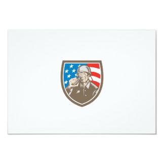 För soldatamerikan för världskrig två vapensköld 8,9 x 12,7 cm inbjudningskort