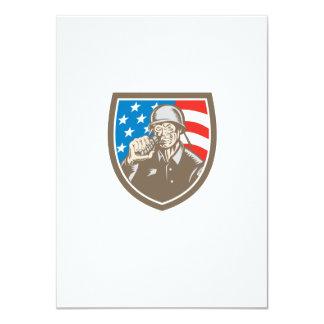 För soldatamerikan för världskrig två vapensköld 11,4 x 15,9 cm inbjudningskort