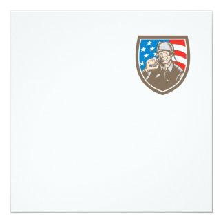 För soldatamerikan för världskrig två vapensköld fyrkantigt 13,3 cm inbjudningskort