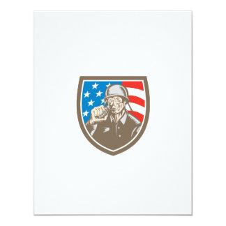 För soldatamerikan för världskrig två vapensköld 10,8 x 14 cm inbjudningskort