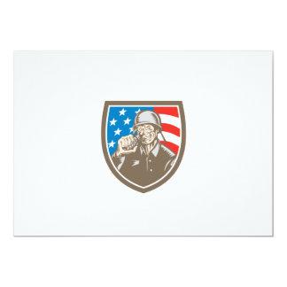 För soldatamerikan för världskrig två vapensköld 12,7 x 17,8 cm inbjudningskort