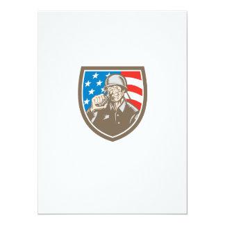 För soldatamerikan för världskrig två vapensköld 14 x 19,5 cm inbjudningskort