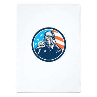 För soldatamerikanen för världskrig två granaten 11,4 x 15,9 cm inbjudningskort
