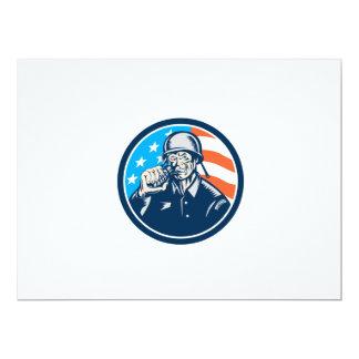 För soldatamerikanen för världskrig två granaten 16,5 x 22,2 cm inbjudningskort