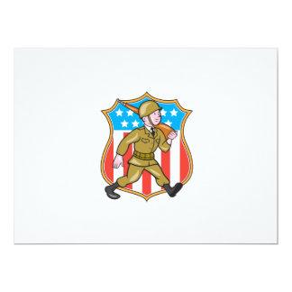 För soldatamerikanen för världskrig två tecknaden 16,5 x 22,2 cm inbjudningskort