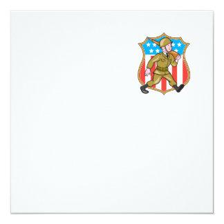 För soldatamerikanen för världskrig två tecknaden fyrkantigt 13,3 cm inbjudningskort