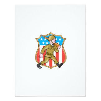 För soldatamerikanen för världskrig två tecknaden 10,8 x 14 cm inbjudningskort
