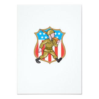 För soldatamerikanen för världskrig två tecknaden 11,4 x 15,9 cm inbjudningskort