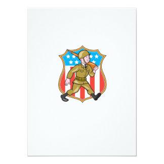 För soldatamerikanen för världskrig två tecknaden 14 x 19,5 cm inbjudningskort