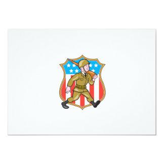 För soldatamerikanen för världskrig två tecknaden 12,7 x 17,8 cm inbjudningskort