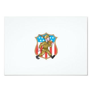 För soldatamerikanen för världskrig två tecknaden 8,9 x 12,7 cm inbjudningskort