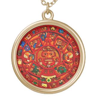 För solkalender för forntida kulturer Mayan hänge Guldpläterat Halsband