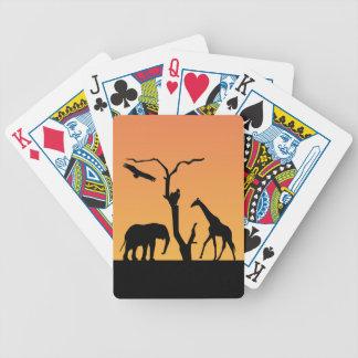 För solnedgångsvart för giraff afrikansk spelkort