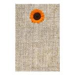 För solrosburlap för modernt land orange bröllop brevpapper