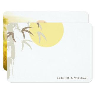 För soluppgångbambu för österlänning gult tack för 8,9 x 12,7 cm inbjudningskort