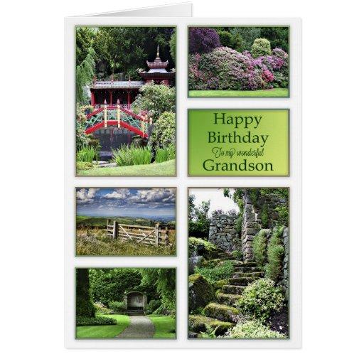 För sonson beskådar ett födelsedagkort med trädgår hälsningskort