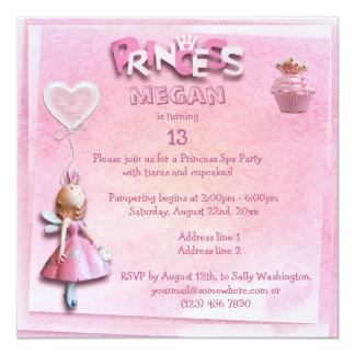 För Spapartyet för den rosa princessen sid 13th Fyrkantigt 13,3 Cm Inbjudningskort