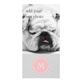För sparreanpassningsbar för grå baby rosa modern  skräddarsydda fotokort