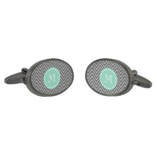 För sparremönster för kol grå Monogram för grönt Manschetterknappar Med Metallgråfinish