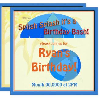 För Splish för bassängpartybarns födelsedag Fyrkantigt 13,3 Cm Inbjudningskort