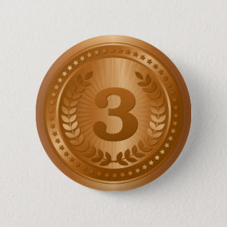 För ställevinnare för bronsmedalj 3rd klistermärke standard knapp rund 5.7 cm