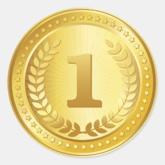För ställevinnare för guldmedalj 1st klistermärke