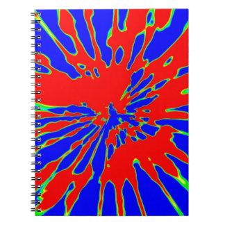 För stänkabstrakt för blått röd design anteckningsbok
