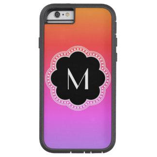 För stilblomma för rosa lutning Noir Monogram för Tough Xtreme iPhone 6 Case