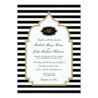 För stilbröllop för stilfull Monogram marockansk 12,7 X 17,8 Cm Inbjudningskort