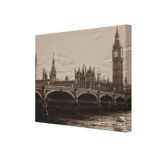 För stora Ben för Sepia slott torn av Westminster Canvastryck