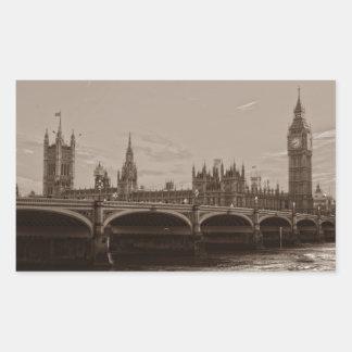 För stora Ben för Sepia slott torn av Westminster Rektangulärt Klistermärke