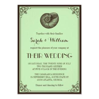 För strandbröllop för Mint grön nautisk inbjudan