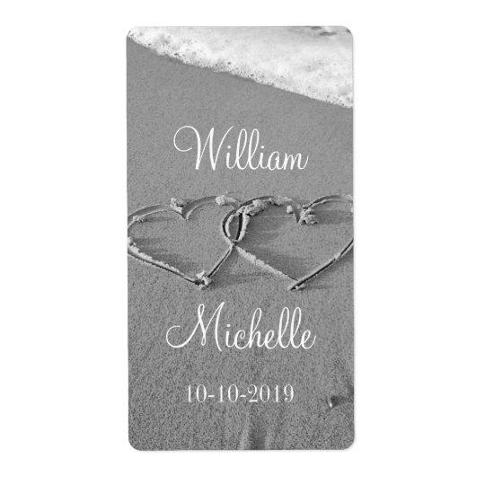 För strandbröllop för personlig chic etiketter för fraktsedel