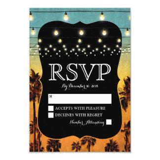 För strandhandflatan för vintage tropiskt bröllop 8,9 x 12,7 cm inbjudningskort