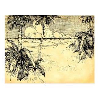 För strandvintage för beställnings- adress tropisk vykort