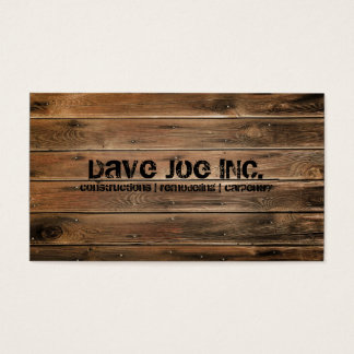 för strukturkonstruktion för grunge wood Carpentry Visitkort