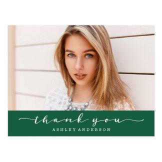 För studentenfoto för klassiker grönt tack vykort