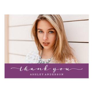 För studentenfoto för klassiker purpurfärgat tack vykort