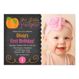För svart tavla födelsedag för pumpa lite rosa 12,7 x 17,8 cm inbjudningskort